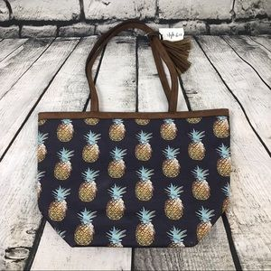 Style & Co Canvas Pineapple Print Tote Bag, NWT